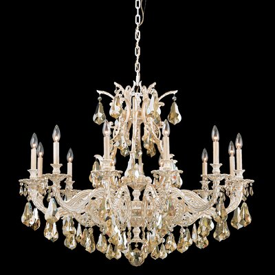 Sophia 12-Light Crystal Chandelier Crystal Type: Heritage Handcut Golden Shade, Finish: Heirloom Bronze