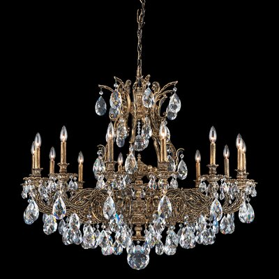 Sophia 14-Light Candle-Style Chandelier Finish: Antique Silver, Crystal Color: Strass Golden Teak