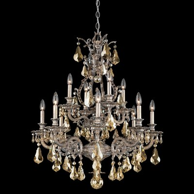 Sophia 12-Light Crystal Chandelier Base Finish: Heirloom Bronze, Shade Color: Heritage Handcut Golden Shade