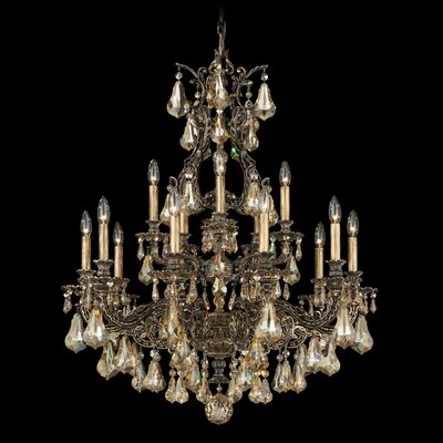 Sophia 15-Light Candle-Style Chandelier Finish: Antique Silver, Crystal Color: Strass Silver Shade