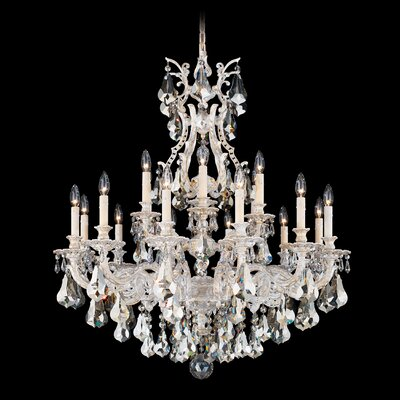 Sophia 18-Light Candle-Style Chandelier Finish: Roman Silver, Crystal Color: Strass Golden Teak