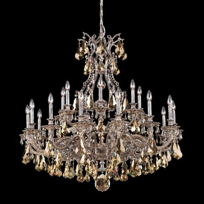 Sophia 21-Light Candle-Style Chandelier Finish: Antique Silver, Crystal Color: Strass Golden Teak