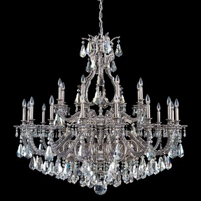 Sophia 24-Light Crystal Chandelier Finish: Roman Silver, Crystal Color: Strass Silver Shade