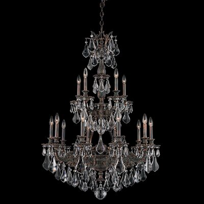 Sophia 15-Light Candle-Style Chandelier Finish: Antique Silver, Crystal Color: Strass Golden Shadow