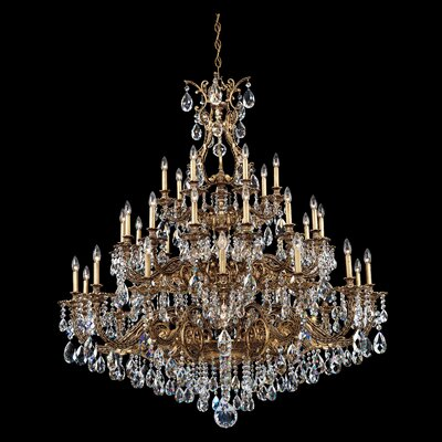 Sophia 35-Light Candle-Style Chandelier Finish: Parchment Gold, Crystal Color: Strass Silver Shade