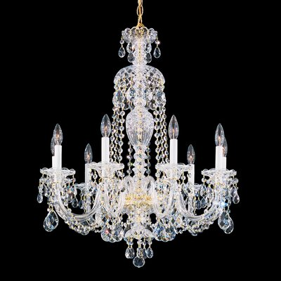 Sterling 9-Light Candle-Style Chandelier Crystal Type: Swarovski Elements Clear, Finish: Gold