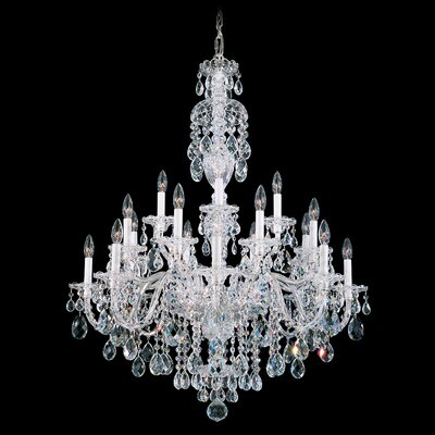 Sterling 20-Light Candle-Style Chandelier Finish: Polished Silver, Crystal Color: Strass Clear