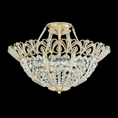 Tiara 9-Light Semi Flush Mount Finish: French Gold, Crystal Color: Spectra Crystal Clear
