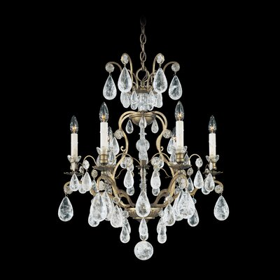 Versailles Rock Crystal 6-Light Candle-Style Chandelier Finish: Etruscan Gold