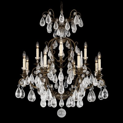 Versailles Rock Crystal 12-Light Crystal Chandelier Finish: Heirloom Bronze