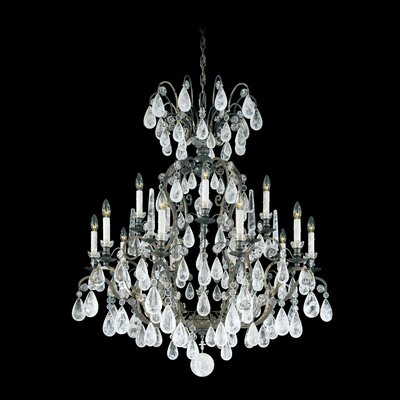 Versailles Rock Crystal 15-Light Candle-Style Chandelier Finish: Heirloom Gold