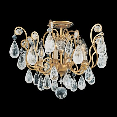 Versailles Rock Crystal 6-Light Semi Flush Mount Finish: Antique Silver, Crystal Color: Rock Crystal Clear
