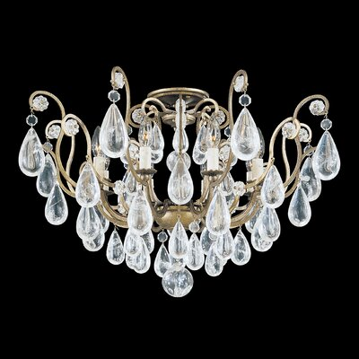 Versailles Rock 8-Light Semi Flush Mount Finish: Etruscan Gold, Crystal Color: Rock Crystal Clear