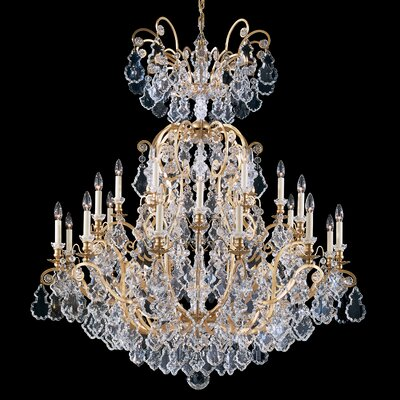 Versailles 24-Light Candle-Style Chandelier Finish: Antique Silver