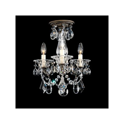 La Scala 3-Light Semi Flush Mount Finish: Roman Silver, Crystal Type: Heritage Clear