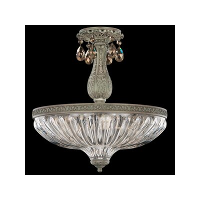 Milano 4-Light Semi Flush Mount Base Finish: Antique Silver, Shade Color: Strass Golden Teak