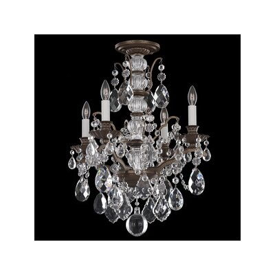 Image of Bordeaux 4 Light Chandelier Finish: Antique Silver Crystal Color: Bright