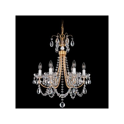 Lucia 6-Light Crystal Chandelier Color: French Gold