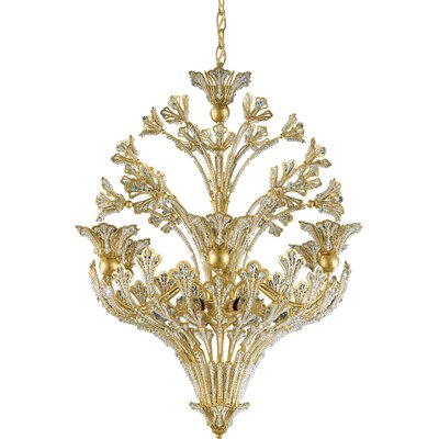 Rivendell 12-Light Lantern Pendant Finish: Etruscan Gold, Crystal Color: Strass Clear