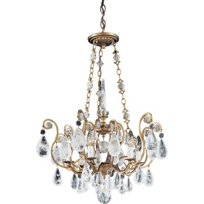 Versailles Rock Crystal 6-Light Geometric Pendant Finish: Antique Silver, Crystal Color: Rock Crystal Clear