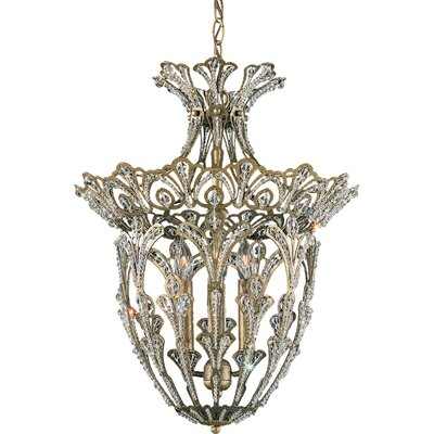 Rivendell 4-Light Foyer Pendant Finish: Antique Silver, Crystal Color: Strass Clear