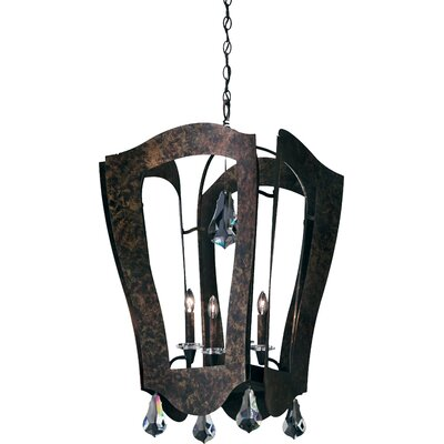 Linterna 4-Light Foyer Pendant Crystal Type: Swarovski Elements Clear, Finish: Etruscan Gold