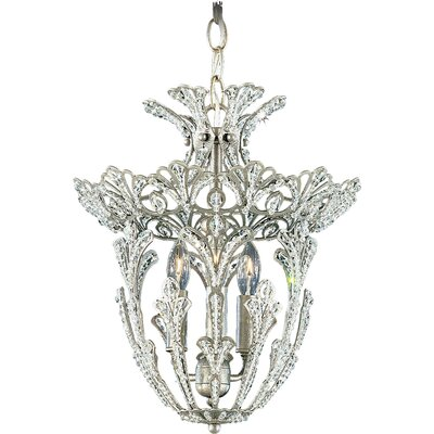 Rivendell 3-Light Jewel Foyer Pendant Finish / Crystal Color: Antique Silver / Strass Clear
