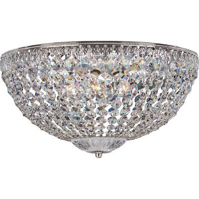 Petit 5-Light Flush Mount Finish: Heirloom Bronze with Swarovski Crystals