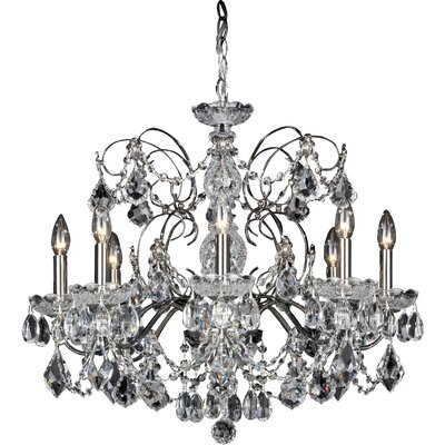 Century 8-Light Candle-Style Chandelier Color: Antique Silver, Crystal Color: Heritage Handcut Crystal Clear