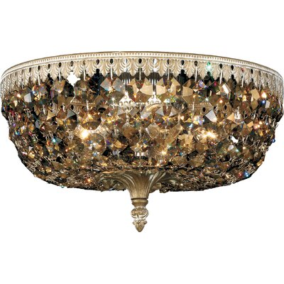 Rialto 5-Light Flush Mount Crystal Type: Swarovski Elements Clear, Finish: French Gold