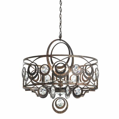 Gwynn 8-Light Drum Chandelier Crystal Grade: Swarovski, Finish: Etruscan Gold