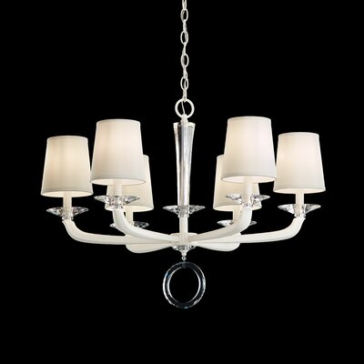 Emilea 6-Light Shaded Chandelier Base Finish: White