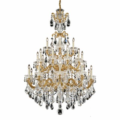 La Scala 25-Light Crystal Chandelier Base Finish: Roman Silver