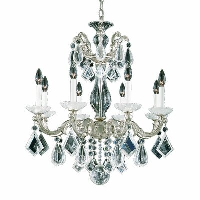 La Scala 8-Light Candle-Style Chandelier Base Finish: Antique Silver