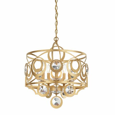 Gwynn 5-Light Drum Chandelier Crystal Grade: Swarovski, Finish: Antique Silver