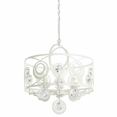 Gwynn 6-Light Drum Chandelier Crystal Grade: Heritage, Finish: Antique Silver