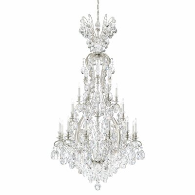 Renaissance 24-Light Crystal Chandelier Crystal Grade: Golden Teak from Swarovski, Finish: Antique Silver