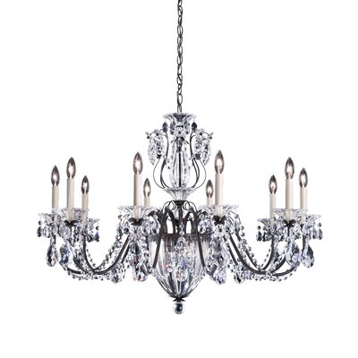 Bagatelle 13-Light Candle-Style Chandelier Crystal Grade: Swarovski, Finish: Antique Silver
