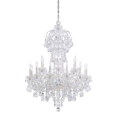 Olde World 18-Light Candle-Style Chandelier Color: Silver, Crystal Color: Spectra Swarovski