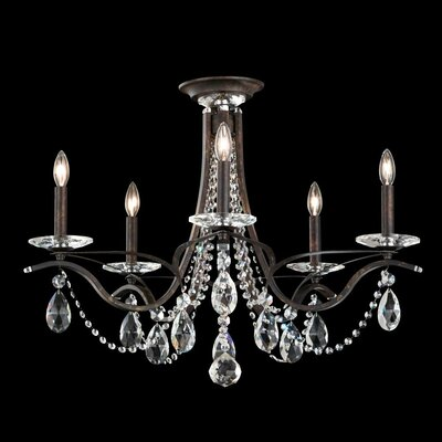 Vesca 5-Light Candle-Style Chandelier Crystal Grade: Swarovski, Finish: Antique Silver