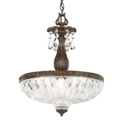 Milano 4-Light Inverted Pendant Finish: Heirloom Bronze, Crystal Color: Optic Handcut Crystal Clear