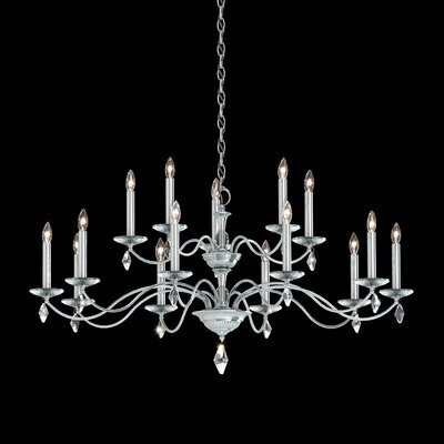 Modique 2 Tier 15-Light Candle-Style Chandelier Finish: Polished Silver, Crystal Grade: Heritage