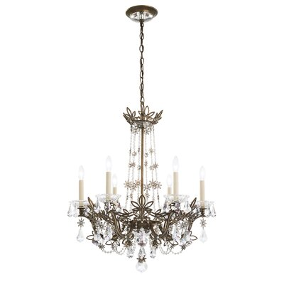 Florabella 6-Light Candle-Style Chandelier Crystal Grade: Heritage, Finish: Etruscan Gold