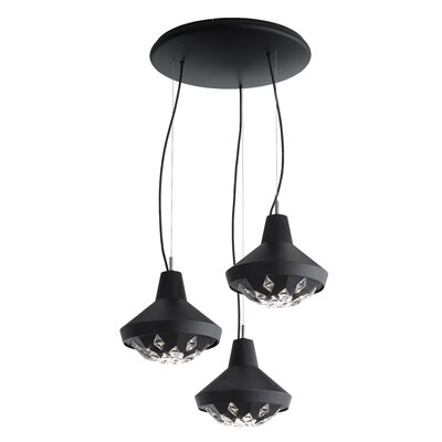 Estrella 3-Light Cluster Pendant Finish: Black