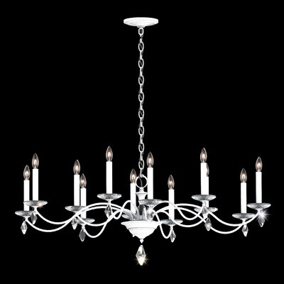 Modique 12-Light Candle-Style Chandelier Crystal Grade: Heritage, Finish: White