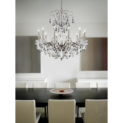 Sonatina 12-Light Crystal Chandelier Crystal Type: Heritage Handcut Clear, Finish: Black Pearl
