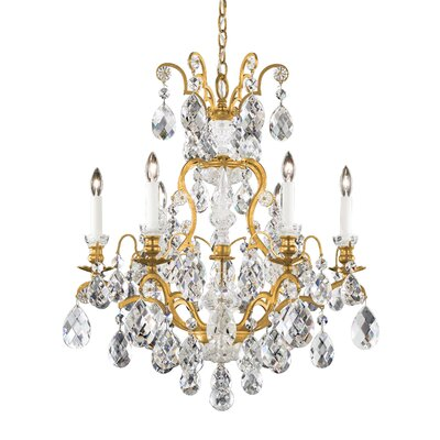 Renaissance 7-Light Crystal Chandelier Finish: Black, Crystal Type: Swarovski Elements Clear
