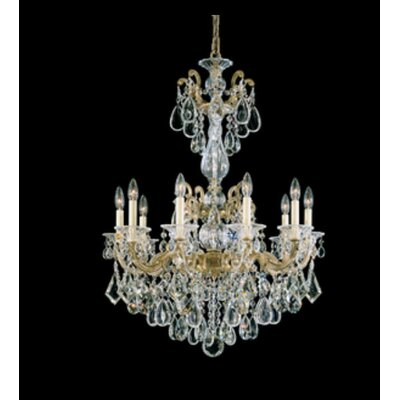 La Scala 10-Light Candle-Style Chandelier Finish / Crystal Color: Parchment Bronze / Strass Clear