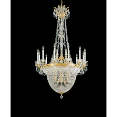 La Scala Empire 22-Light Candle-Style Chandelier Finish / Crystal Color: Parchment Bronze / Handcut Clear
