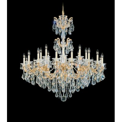 La Scala 24-Light Candle-Style Chandelier Finish / Crystal Color: Antique Silver / Handcut Clear